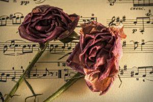 verwelkte Rosen auf Notenblatt